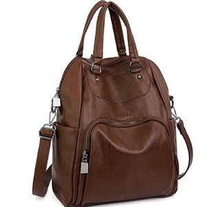 Bags - Women Backpack Purse PU Washed Leather Convertible